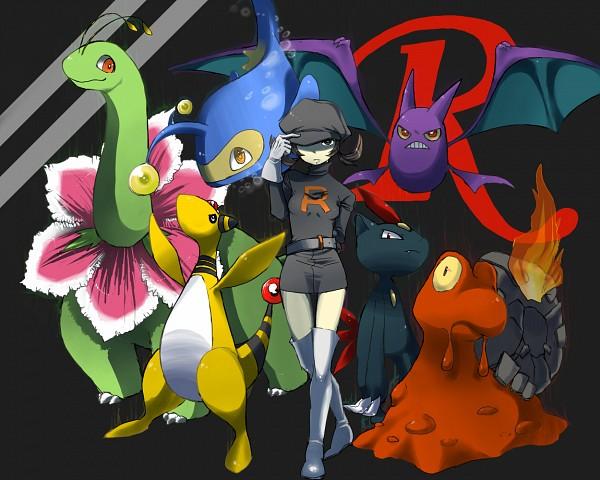 Tags: Anime, Pixiv Id 1076162, Pokémon, Ampharos, Lanturn, Crobat, Meganium, Magcargo, Kotone (Pokémon), Sneasel, Hat Over One Eye, Team Rocket (Cosplay), Pokémon (Cosplay)