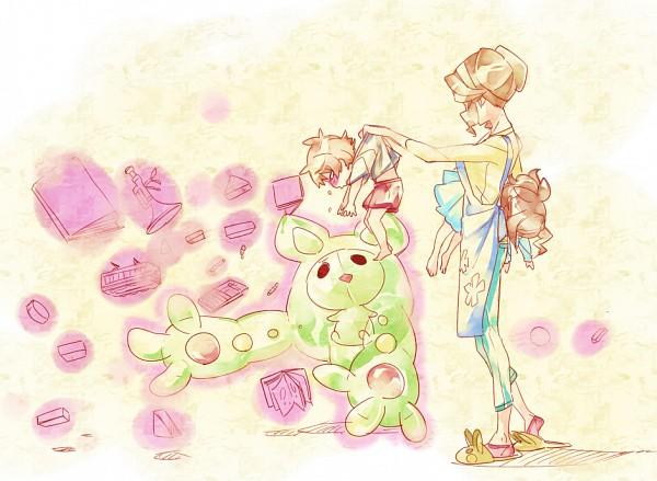 Tags: Anime, Chima Tsuitta, Pokémon, Momi (Pokémon), Touya (Pokémon), Reuniclus, Touko (Pokémon), Pixiv, Fanart