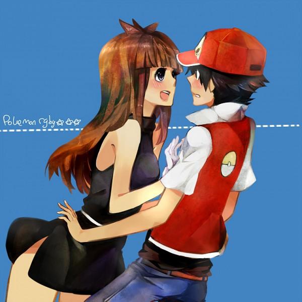 Tags: Anime, tri-bby, Pokémon, Leaf (Pokémon), Red (Pokémon), Fanart, Pixiv, Fanart From Pixiv