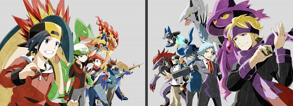 Tags: Anime, Pixiv Id 1415546, Pokémon, Hibiki (Pokémon), Sceptile, Kouki (Pokémon), Skarmory, Mismagius, Gen (Pokémon), Tsuwabuki Daigo, Typhlosion, Matsuba (Pokémon), N (Pokémon)