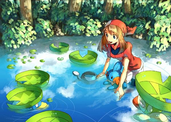 Tags: Anime, 68 (Artist), Pokémon, Lombre, Mudkip, Haruka (Pokémon), Lotad, Watering Can, Lily Pads