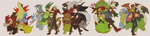 Tags: Anime, Pixiv Id 3474581, Pokémon, Charizard, Honchkrow, Hibiki (Pokémon), Mightyena, Pikachu, Yuuki (Pokémon), Camerupt, Darkrai, Blastoise, Kouki (Pokémon)