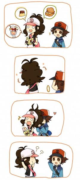 Tags: Anime, Tomoyami, Pokémon, Touya (Pokémon), Touko (Pokémon), Parfait, Thinking, Face In Hair, Pudding, Pixiv, Comic