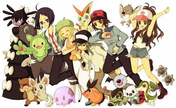 Tags: Anime, Pixiv Id 1153778, Pokémon, Oshawott, Pidove, Patrat, Reuniclus, Tepig, Klink, Bel (Pokémon), Touya (Pokémon), Gothitelle, Munna