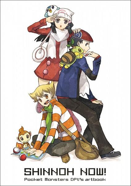 Tags: Anime, Buzz, Pokémon, Turtwig, Jun (Pokémon), Kouki (Pokémon), Piplup, Chimchar, Hikari (Pokémon), Map, Poffin, Mobile Wallpaper