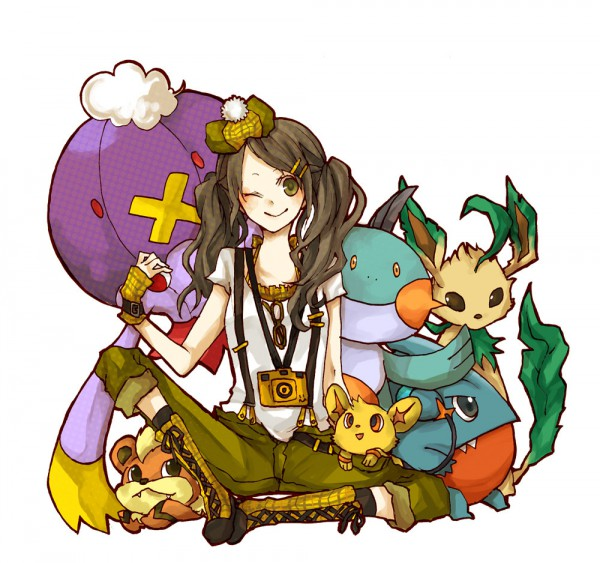 Tags: Anime, Buzz, Pokémon, Leafeon, Shinx, Growlithe, Drifblim, Marshtomp, Gible, Capri Pants, Pixiv