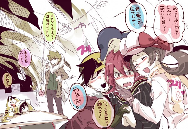 Tags: Anime, Chima Tsuitta, Pokémon, Red (Pokémon), Silver (Pokémon), Pikachu, Kotone (Pokémon), Hibiki (Pokémon), Green (Pokémon), Cyndaquil, Pikachu (Cosplay), Pokémon (Cosplay), Eevee (Cosplay)