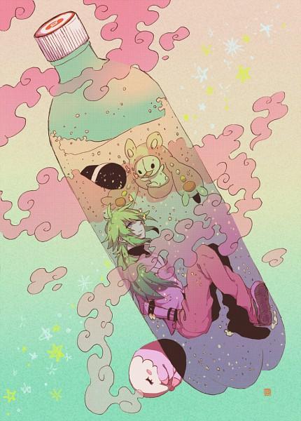 Tags: Anime, Pixiv Id 1850343, Pokémon, N (Pokémon), Musharna, Reuniclus, Fetal Position, In a Bottle, Mobile Wallpaper
