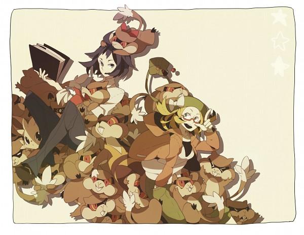 Tags: Anime, 801yamaarashi, Pokémon, Cheren (Pokémon), Watchog, Patrat, Lillipup, Bel (Pokémon), Fanart From Pixiv, Pixiv, Fanart