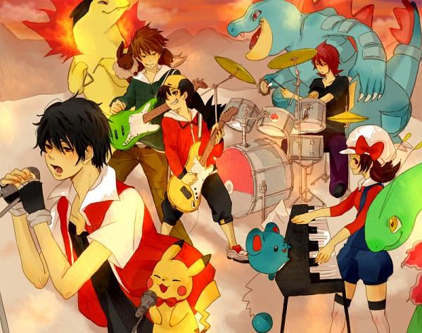 Tags: Anime, Pixiv Id 1381877, Pokémon, Hibiki (Pokémon), Green (Pokémon), Marill, Red (Pokémon), Typhlosion, Silver (Pokémon), Meganium, Kotone (Pokémon), Feraligatr, Bass Guitar