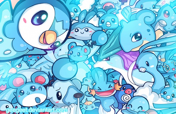 Tags: Anime, Geegeet, Pokémon, Piplup, Manaphy, Squirtle, Azurill, Mantyke, Altaria, Wooper, Horsea, Articuno, Quagsire
