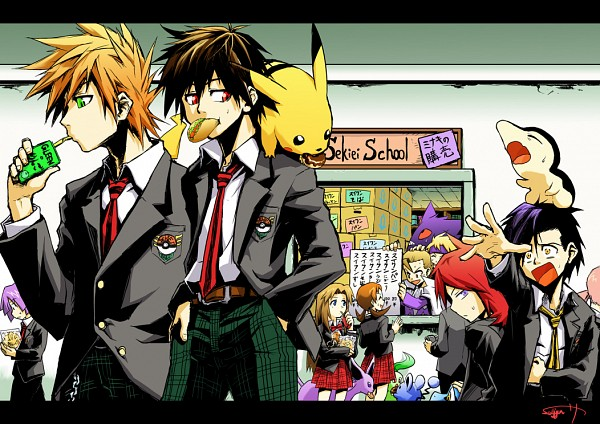 Tags: Anime, Pixiv Id 411252, Pokémon, Minaki (Pokémon), Chikorita, Red (Pokémon), Silver (Pokémon), Tsukushi (Pokémon), Espeon, Matsuba (Pokémon), Kotone (Pokémon), Marill, Gengar