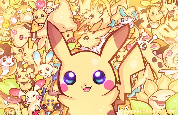 Tags: Anime, Geegeet, Pokémon, Ampharos, Plusle, Shuckle, Victreebel, Joltik, Jolteon, Elekid, Electabuzz, Sunkern, Bellsprout