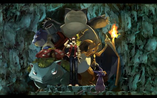 Tags: Anime, Usao (313131), Pokémon, Venusaur, Pikachu, Charizard, Red (Pokémon), Snorlax, Espeon, Blastoise, Cave, Wallpaper, deviantART