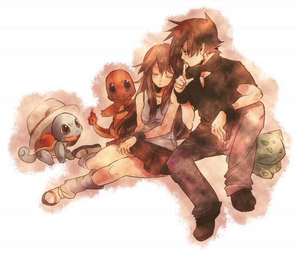 Tags: Anime, Hidu Aki, Pokémon Red & Green, Pokémon, Charmander, Squirtle, Bulbasaur, Green (Pokémon), Leaf (Pokémon), Pixiv, Fanart, Fanart From Pixiv, GreLeaf