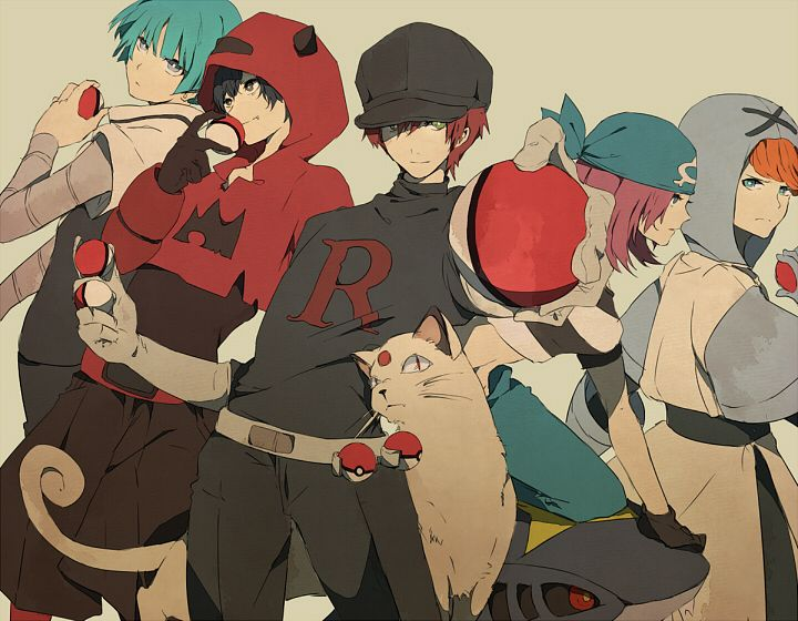 Tags: Anime, Pixiv Id 2239587, Pokémon, Team Aqua Underling (Female), Persian, Team Galactic Underling (Male), Sharpedo, Plasma-dan Shitappa (Male), Team Magma Underling, Fanart From Pixiv, Fanart, Pixiv