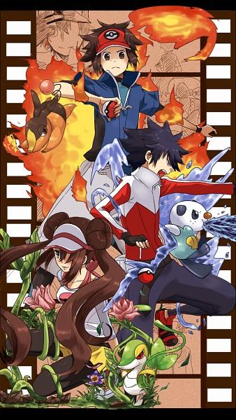 Tags: Anime, Pixiv Id 856818, Pokémon, Green (Pokémon), Mei (Pokémon), Oshawott, Red (Pokémon), Tepig, Silver (Pokémon), Touya (Pokémon), Kyouhei, Kotone (Pokémon), Hue