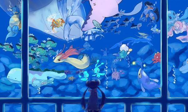 Tags: Anime, Kimera (Pixiv580740), Pokémon, Oshawott, Mudkip, Mantine, Phione, Lumineon, Remoraid, Basculin, Azumarill, Mei (Pokémon), Lanturn