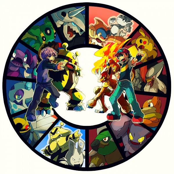 Tags: Anime, 68 (Artist), Pokémon, Elekid, Shinji (Pokémon), Satoshi (Pokémon), Electabuzz, Pikachu, Ninjask, Fanart, Fanart From Pixiv, Pixiv