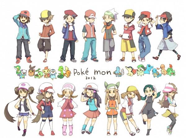 Tags: Anime, Pixiv Id 4556185, Pokémon, Mudkip, Leaf (Pokémon), Kyouhei, Hibiki (Pokémon), Turtwig, Snivy, Mei (Pokémon), Squirtle, Kris (Pokémon), Touko (Pokémon)