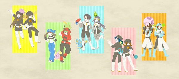 Tags: Anime, Pixiv Id 2493694, Pokémon, Musharna, Pikachu, Yuuki (Pokémon), Cyndaquil, Touko (Pokémon), Kouki (Pokémon), Snivy, Shinx, Ditto, Leaf (Pokémon)