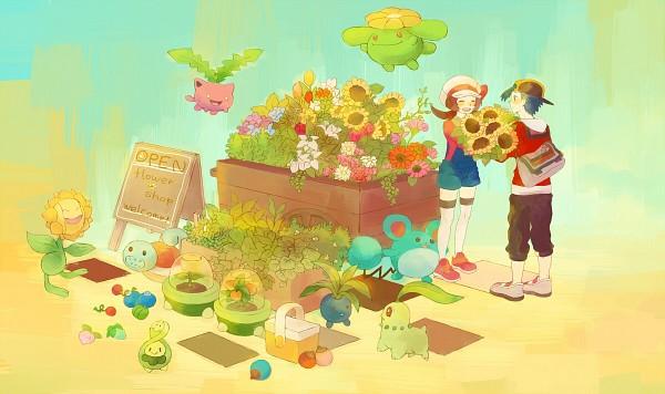 Tags: Anime, Pixiv Id 2493694, Pokémon Gold & Silver, Pokémon, Kotone (Pokémon), Budew, Hibiki (Pokémon), Skiploom, Chikorita, Hoppip, Sunflora, Marill, Oddish