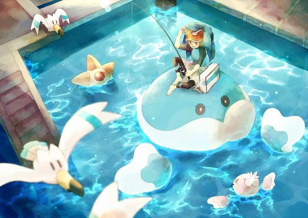 Tags: Anime, Pixiv Id 2493694, Pokémon, Wingull, Staryu, Frillish, Jellicent, Kyouhei, Leggings, Fishing Rod, Fishing, Coat Over Head, Fanart