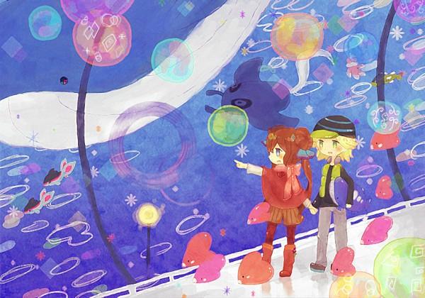 Tags: Anime, Pixiv Id 1293494, Pokémon, Wailord, Jellicent, Mantine, Luvdisc, Tetsu (Pokémon), Basculin, Mei (Pokémon), Finneon, Aquarium, Fanart