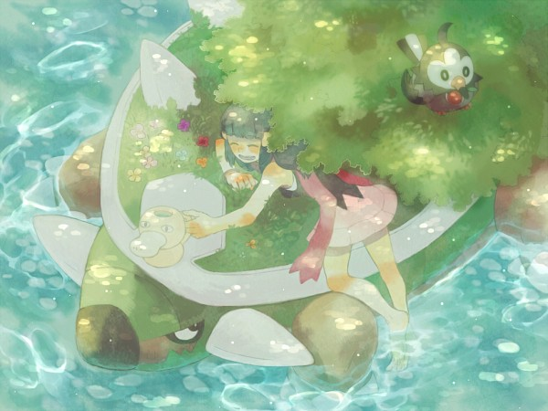 Tags: Anime, Pixiv Id 2493694, Pokémon, Hikari (Pokémon), Starly, Torterra, Pixiv, Fanart From Pixiv, Fanart