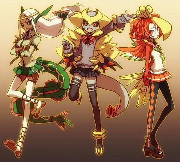 Tags: Anime, Kantarou (8kan), Pokémon, Rayquaza, Ho-oh, Giratina, Dragon Tail, Fanart From Pixiv, Legendary Pokémon