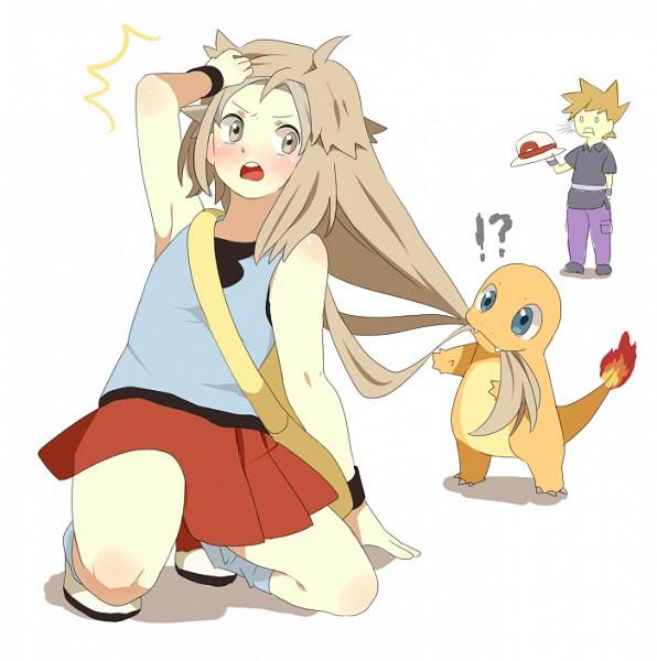 Tags: Anime, Pixiv Id 430137, Pokémon, Charmander, Fire (Pokémon), Green (Pokémon), Red (Pokémon), Wig, Leaf (Pokémon) (Cosplay)