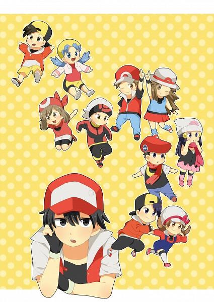 Tags: Anime, Pixiv Id 430137, Pokémon, Kris (Pokémon), Hikari (Pokémon), Fire (Pokémon), Red (Pokémon), Yuuki (Pokémon), Kotone (Pokémon), Kouki (Pokémon), Hibiki (Pokémon), Leaf (Pokémon), Haruka (Pokémon)
