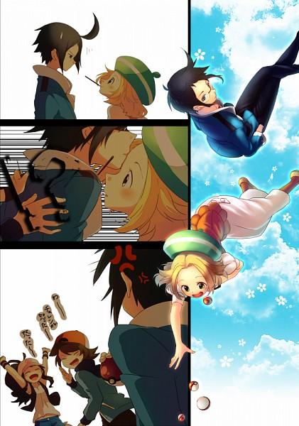 Tags: Anime, Sekka Koyori, Pokémon, Touya (Pokémon), Bel (Pokémon), Cheren (Pokémon), Touko (Pokémon), Pushing, Pixiv, Mobile Wallpaper