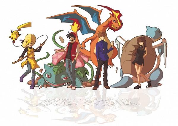 Tags: Anime, Pixiv Id 4397707, Pokémon SPECIAL, Pokémon, Red (Pokémon), Venusaur, Yellow (Pokémon Special), Chuchu (Pokémon), Charizard, Pikachu, Green (Pokémon), Leaf (Pokémon), Blastoise