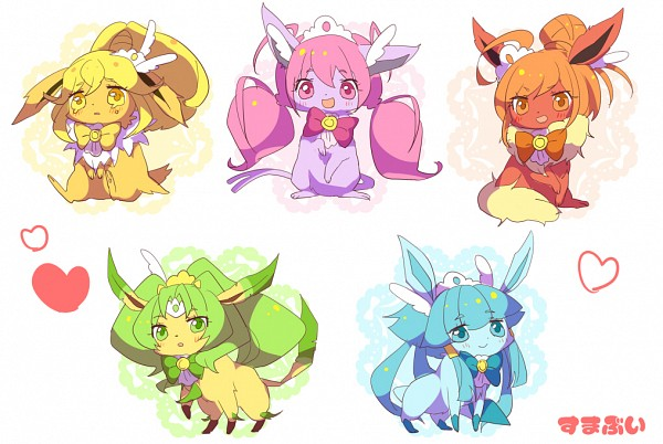 Tags: Anime, Pixiv Id 365529, Smile Precure!, Pokémon, Jolteon, Flareon, Glaceon, Leafeon, Espeon, Cure Sunny (Cosplay), Cure Happy (Cosplay), Cure Beauty (Cosplay), Cure March (Cosplay)