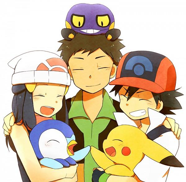 Tags: Anime, Clunker, Pokémon, Takeshi (Pokémon), Satoshi (Pokémon), Croagunk, Pikachu, Piplup, Hikari (Pokémon), Fanart From Pixiv, Fanart, Pixiv