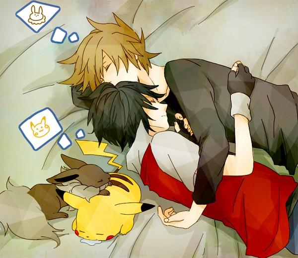 Tags: Anime, K (Mangaka), Pokémon Red & Green, Pokémon, Green (Pokémon), Red (Pokémon), Eevee, Pikachu, Thinking, Pixiv, Fanart, Fanart From Pixiv, ReGre