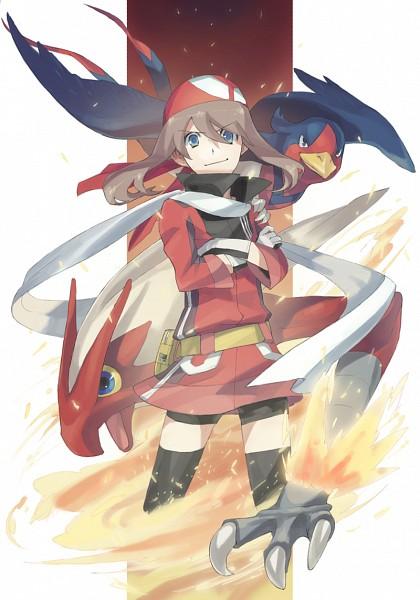 Tags: Anime, Nishihara Isao, Pokémon, Swellow, Blaziken, Haruka (Pokémon), Swallow, Fanart, Mobile Wallpaper