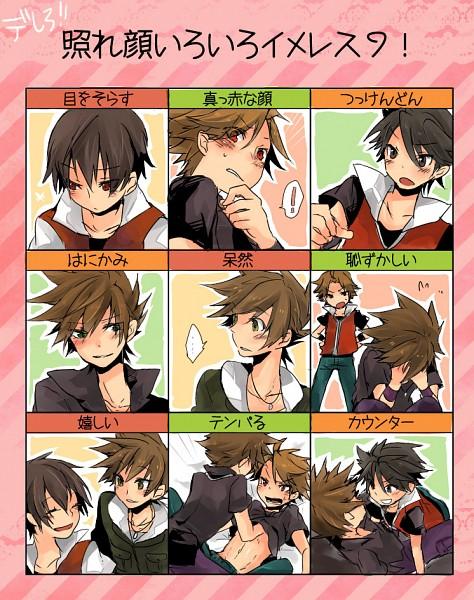 Tags: Anime, Popporori, Pokémon, Fire (Pokémon), Green (Pokémon), Red (Pokémon), Blushing Faces Meme, Fanart From Pixiv, Pixiv, Translation Request, Fanart