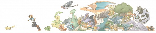 Tags: Anime, Pixiv Id 125210, Pokémon, Bayleef, Muk, Pikachu, Buizel, Swellow, Totodile, Torkoal, Kingler, Quilava, Noctowl