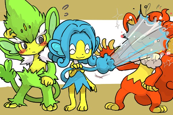 Tags: Anime, Pixiv Id 399419, Pokémon, Simisage, Simisear, Simipour