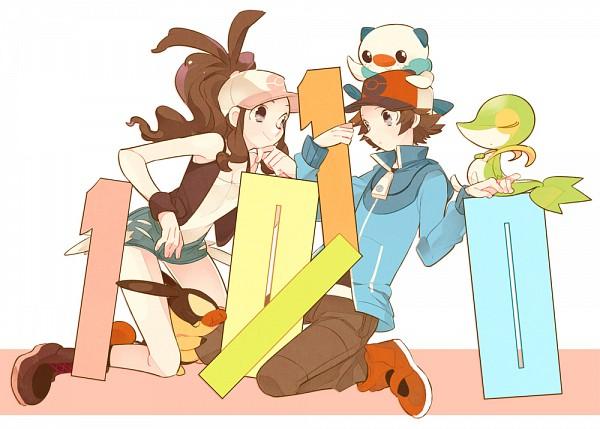 Tags: Anime, Hagiko (Artist), Pokémon, Touko (Pokémon), Snivy, Oshawott, Tepig, Touya (Pokémon), Pixiv, Fanart, Fanart From Pixiv
