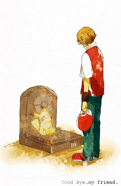 Tags: Anime, Pixiv Id 2398115, Pokémon, Fire (Pokémon), Red (Pokémon), Pikachu, Transparent Body, Grave, Tomb Stone, Text: Good Bye, Fanart From Pixiv, Pixiv, Mobile Wallpaper