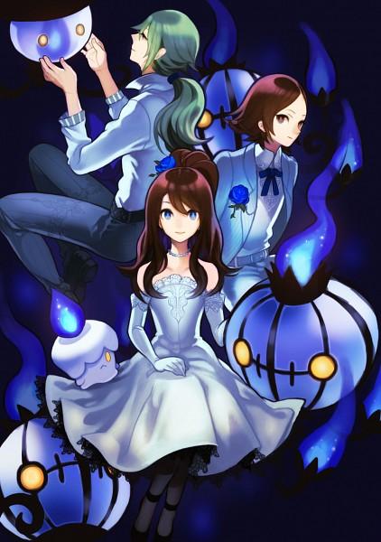 Tags: Anime, Sakida Kiyu, Pokémon, N (Pokémon), Touko (Pokémon), Chandelure, Lampent, Litwick, Touya (Pokémon), Mobile Wallpaper