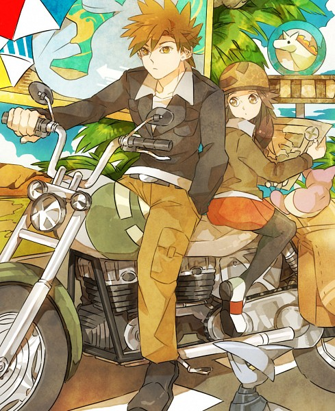 Tags: Anime, Pixiv Id 1021494, Pokémon Red & Green, Pokémon, Skitty, Rapidash, Green (Pokémon), Leaf (Pokémon), Skarmory, Seel, Map, Pixiv, Fanart From Pixiv