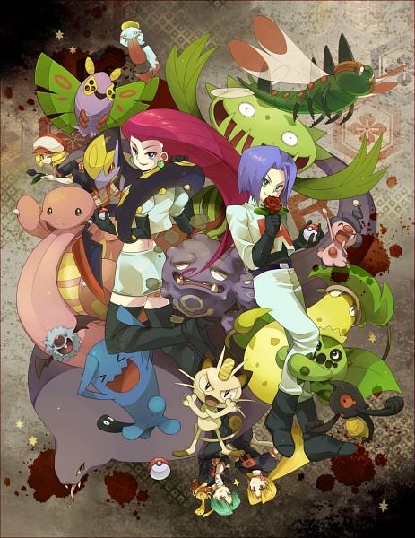 Tags: Anime, Pixiv Id 417383, Pokémon, Dustox, Cacnea, Wobbuffet, Kosaburou (Pokémon), Musashi (Pokémon), Yanmega, Chimecho, Weezing, Victreebel, Shuckle
