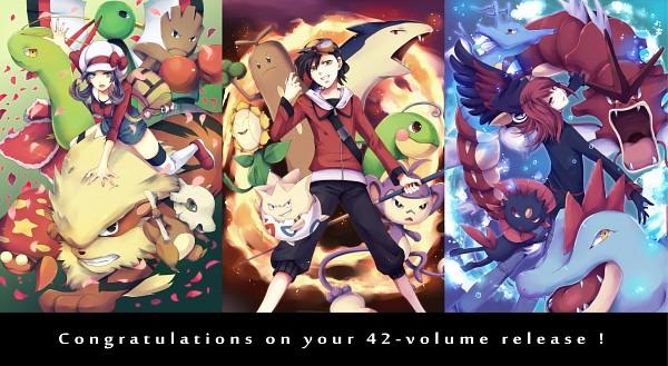 Tags: Anime, Pixiv Id 1569568, Pokémon SPECIAL, Pokémon, Sunflora, Silver (Pokémon SPECIAL), Politoed, Honchkrow, Kingdra, Sudowoodo, Gold (Pokémon SPECIAL), Typhlosion, Weavile