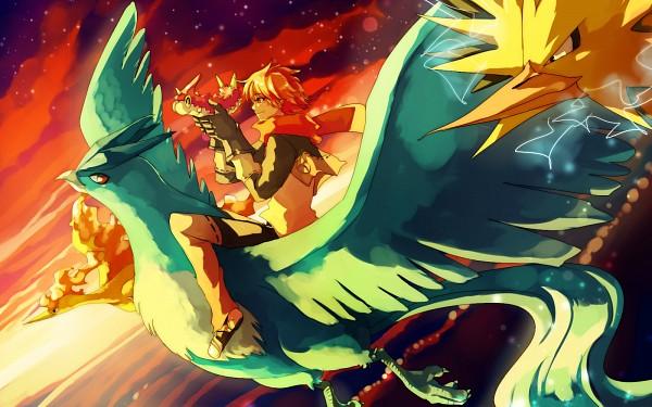 Tags: Anime, Sa-dui, Pokémon, Articuno, Zapdos, Wurmple, Moltres, Wallpaper, Fanart, Legendary Pokémon, Character Request