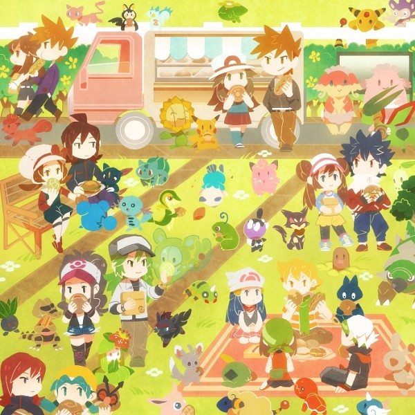 Tags: Anime, Pokémon, Snivy, Jun (Pokémon), Diglett, N (Pokémon), Mew, Spinda, Leaf (Pokémon), Gulpin, Pikachu, Reuniclus, Emolga