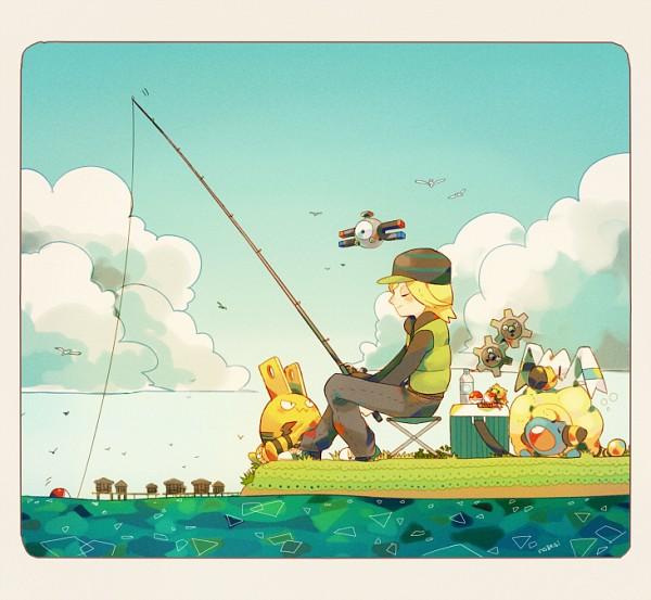 Tags: Anime, Pixiv Id 695792, Pokémon, Wingull, Klink, Joltik, Mareep, Magnemite, Tetsu (Pokémon), Elekid, Fishing, Fishing Rod, Fanart From Pixiv